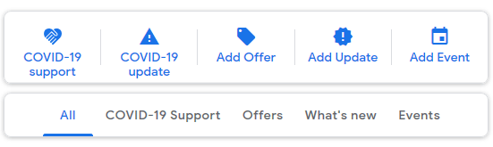 Google My Business post types