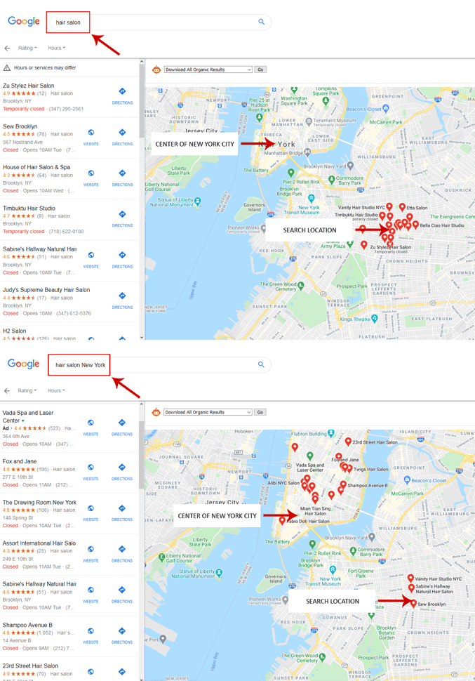 google maps local search results