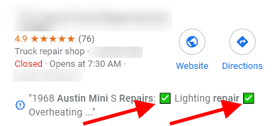 google my business posts snippet