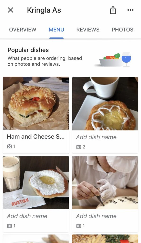 Google My Business Menu Example