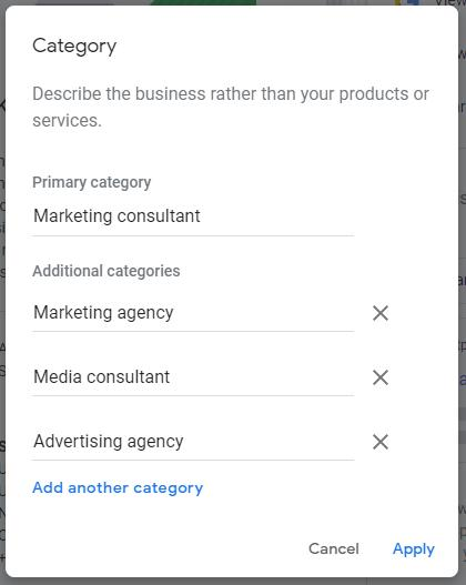 Google My Business Categories