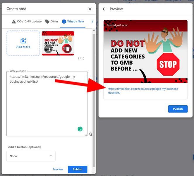 Google My Business posts backlinks 1st variant