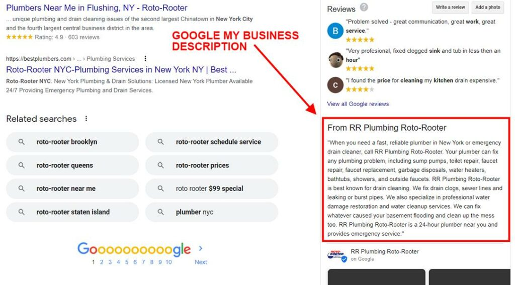 Google my business description on checklist